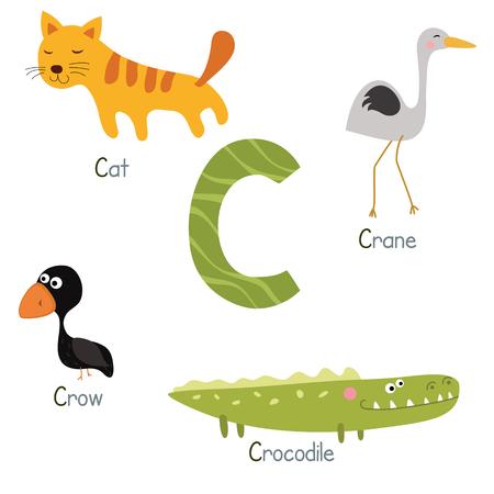 cat alphabet: Cute vector zoo alphabet. Funny cartoon animals: crow, cat, crane, crocodile.