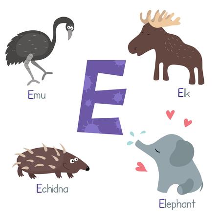emu: Cute vector zoo alphabet. Funny cartoon animals: emu, elephant, elk, echidna.