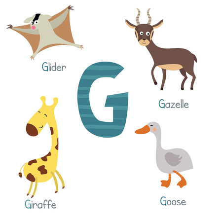 glider: Cute vector zoo alphabet. Funny cartoon animals: glider, gazelle, giraffe, goose.