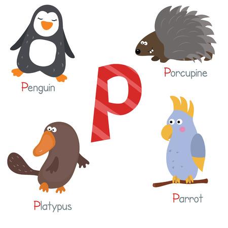 platypus: Cute vector zoo alphabet. Funny cartoon animals: penguin, porcupine, platypus, parrot. Illustration