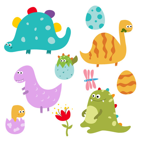 Set of different dinosaurs on white background. Illustration