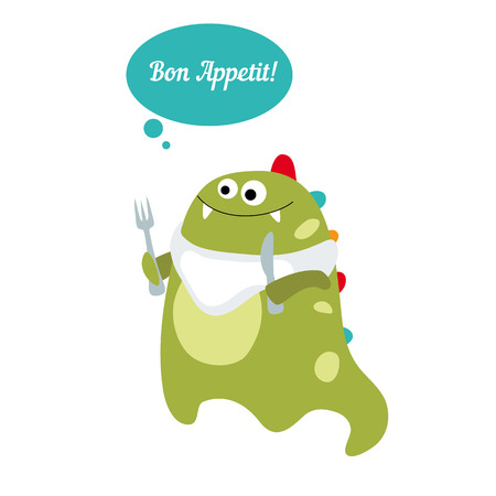 Little dinosaur says Bon Appetit message. Cartoon illustration. Reklamní fotografie - 64190950