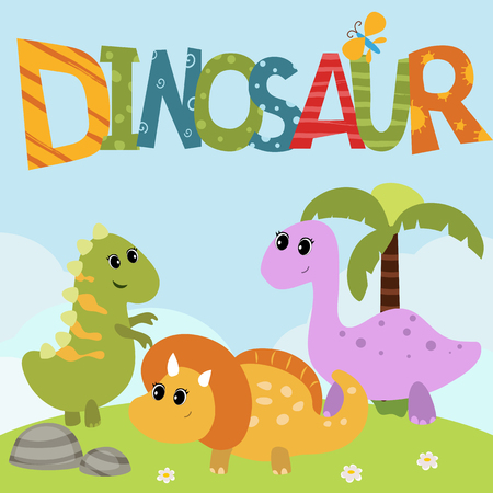 large group of animals: Cartoon group of dinosaur. Background with clouds.