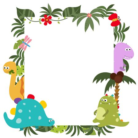 Frame with cartoon dinosaurs. Funny card with empty space for text Illustration