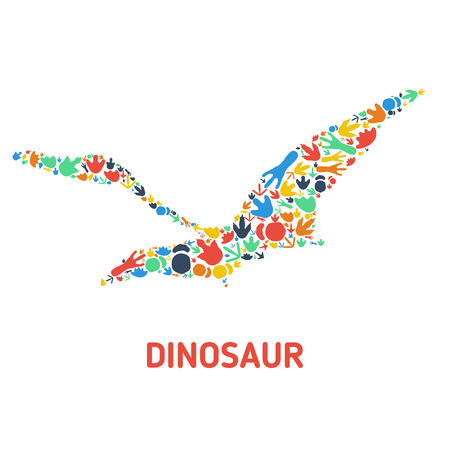 pterodactyl: Symbol of dinosaur and dinosaur footprints. Silhouette of dinosaur footprints