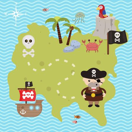 Schatkaart thema. Vector illustratie van piraten schatkaart.