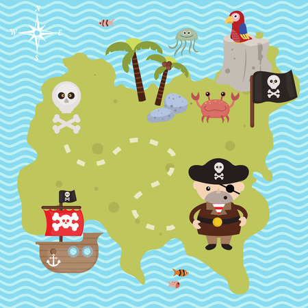 hideout: Treasure map theme. Vector illustration of pirate treasure map. Illustration