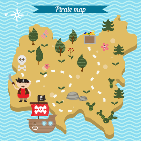 Treasure map theme. Vector illustration of pirate treasure map. Illustration