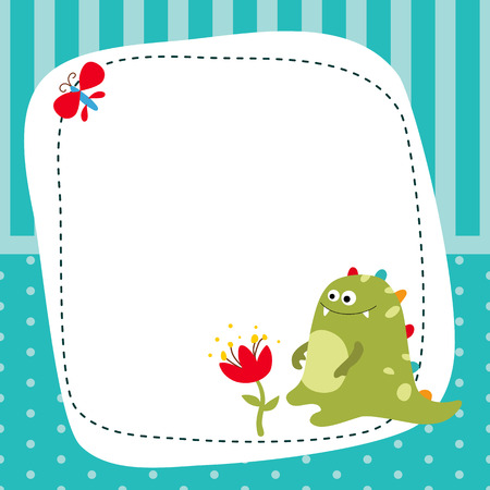 Greeting card with cartoon dinosaur. Blue background with stripes and polka dots.