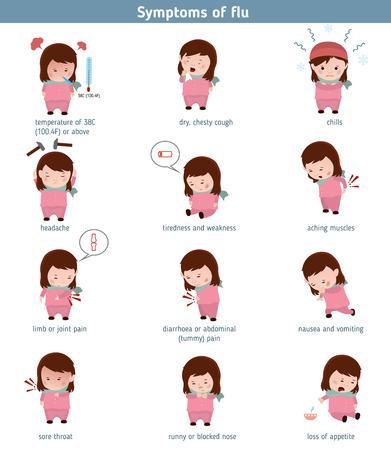 severe: Flu common symptoms. Infographic element. Health concept. Illustration