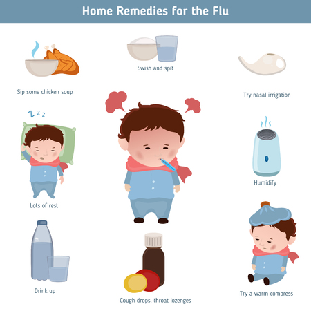Home remidies for the flu. Infographic element. Health concept.  イラスト・ベクター素材