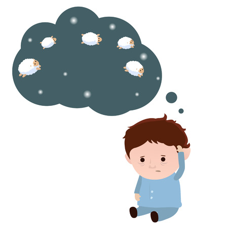 Sleepless man and a sheep. Insomnia concept. White background. Illustration