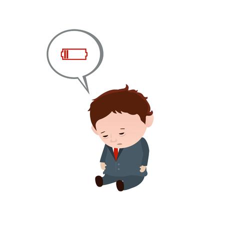 Chronische Müdigkeit. Der Mann mit schwacher Batterie. Vektorgrafik
