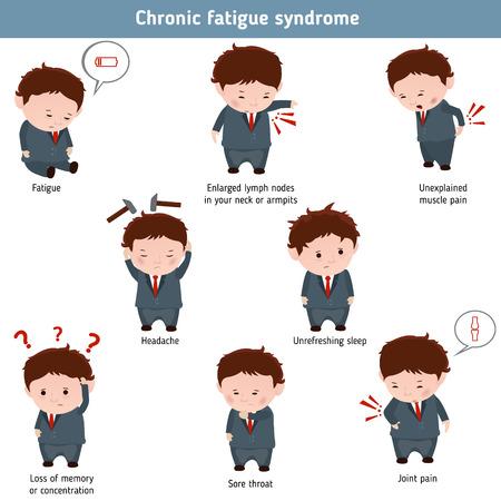Los síntomas del síndrome de fatiga crónica. elemento de infografía. Concepto de la salud.