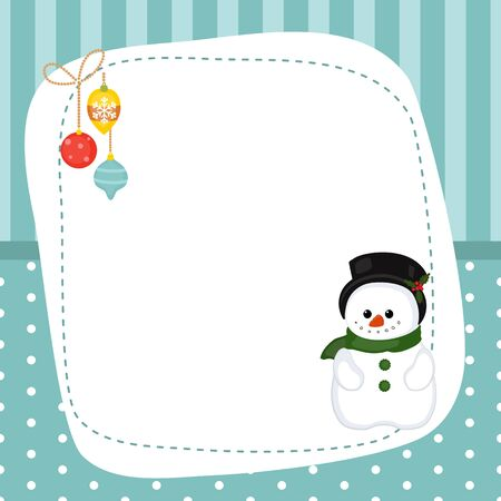Christmas and new year greeting card with snowman and space for your text. Blue background with stripes and polka dots. Illustration