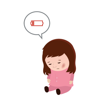 weariness: Chronic fatigue syndrome. Woman with low battery.