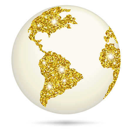 Planet earth with gold glitter on white background. Illustration