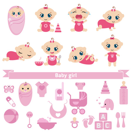 cute baby girls: Set of cute baby girls and baby girl icons. 0-12 months. Various poses. First year activities. Illustration