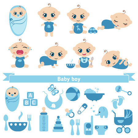 lies: Set of cute baby boys and baby boy icons. 0-12 months. Various poses. First year activities. Illustration