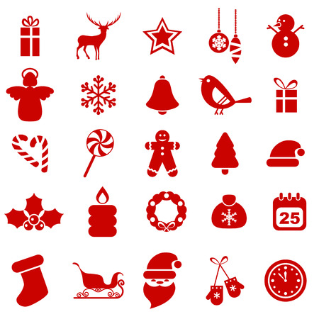 santa sleigh: Set of Christmas icons. Christmas decorations objects and symbols collection.