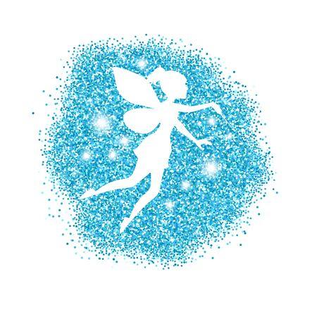 Magische fee met stofglitters. Witte achtergrond. Vector Illustratie