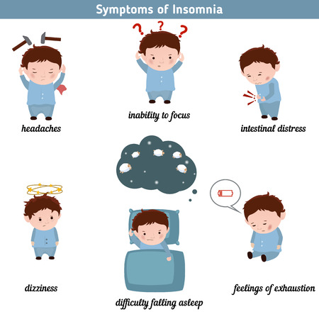 Insomnia common symptoms. Infographic element. Health concept.