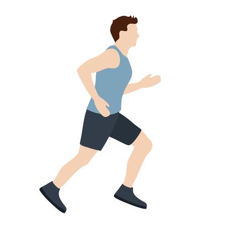 Man running vector illustration. Running man in flat style. Иллюстрация