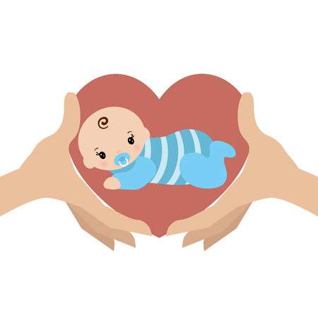Mothers care sign. Symbol of parental love. Hands hold the baby