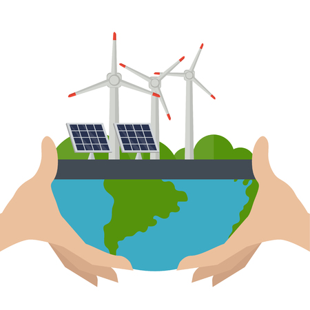 Illustration of a wind turbines and solar panels. Concept of alternative and renewable energy sources. Illustration