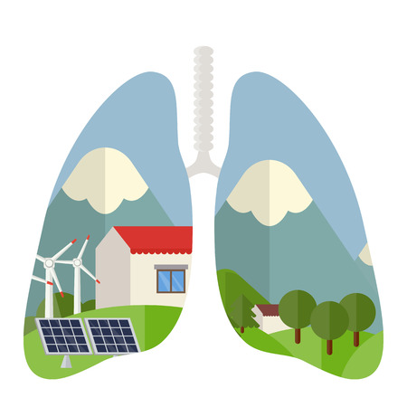 Concept illustration of ecology. Alternative and renewable energy sources. Green home energy savings. Clean air concept.