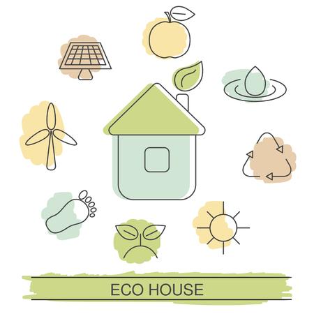 Ilustración de ecología con iconos de eco. Casa ecológica y energía verde. Ilustración de vector