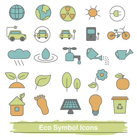 environmentalist: Set of eco line icons. Collection eco design elements. Recycling, renewable energy.