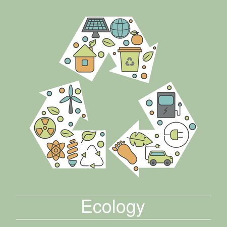 Ecology illustration with eco icons. Green technology, environment protection etc.