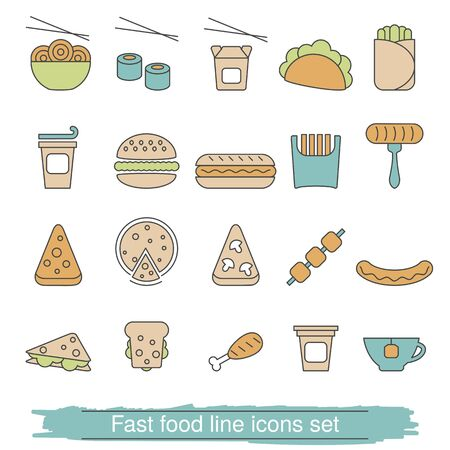 toasted: Fast food line icons set. Collection fast food icons in thin line style.