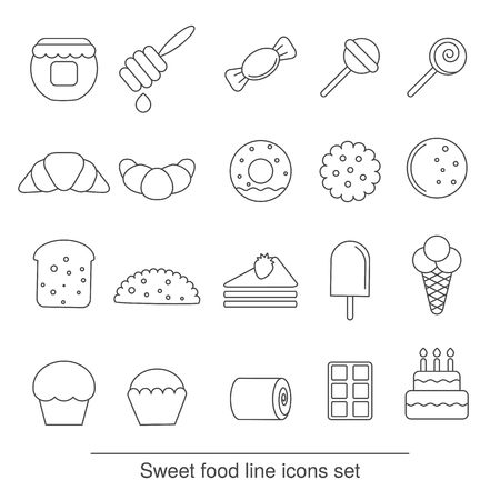 christmas cookie: Dessert and sweet icon set. Collection dessert and sweet icons in thin line style.