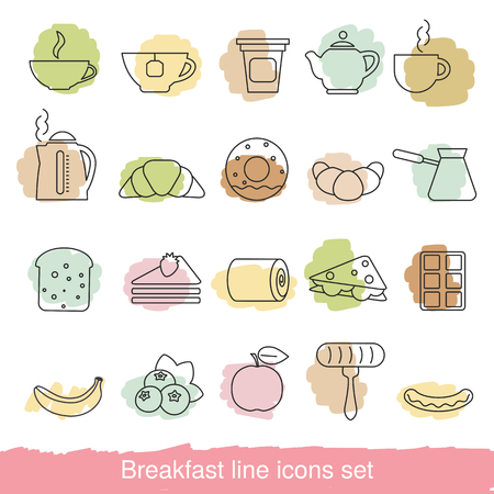 toasted: Breakfast icons set. Collection breakfast icons in thin line style.