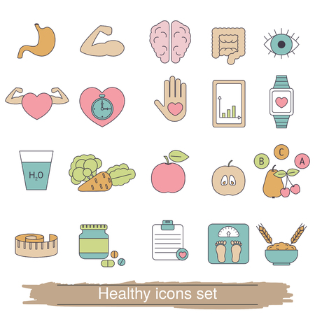 Healthy lifestyle icons set. Collection healthy lifestyle icons in thin line style. Illustration