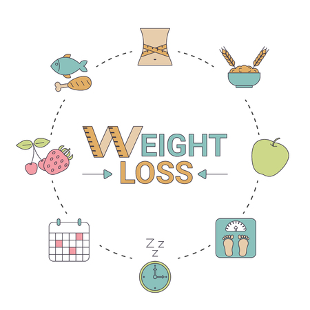 Weight loss concept. Infographic with diet and healthy lifestyle symbol.