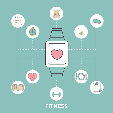 smart goals: Smart watch with with sport and health icons in thin line style. Fitness training design elements. Blue background. Illustration