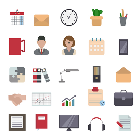 envelope: Office and business flat design icons set.