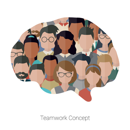 Concept of creative teamwork with set of people. Business team and teamwork concept.