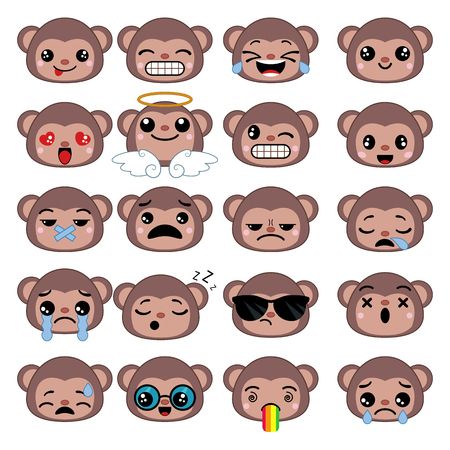 Set of cute monkey emoticons. Smile icon set. Illustration