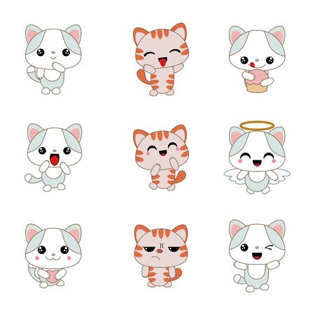 completely: Different cartoon cats set. Anime style. Collection of cute characters.