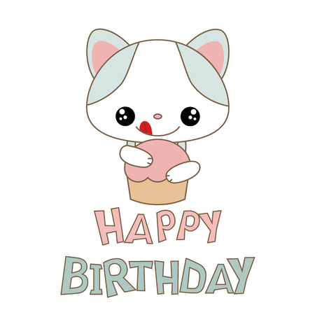 Happy Birthday Card With Funny Cat Anime Style Royalty Free