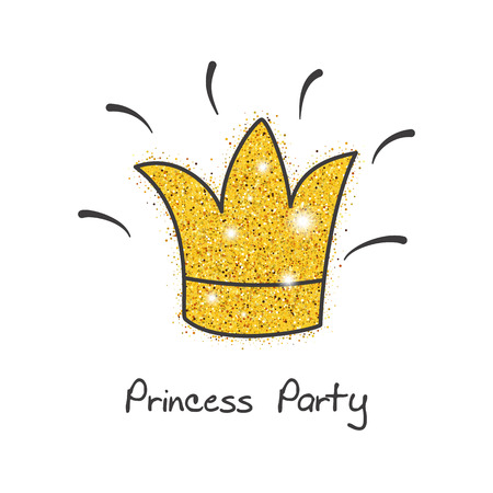 Hand drawn card with golden crown for birthday, party invitations. Birthday party and girl baby shower design element. Illustration