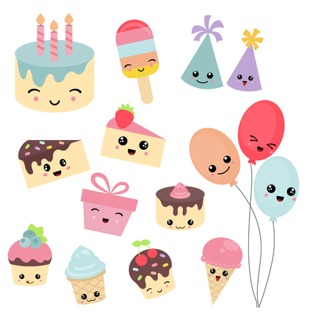 Set of birthday icons on white background. Party and celebration design elements. 版權商用圖片 - 79255649