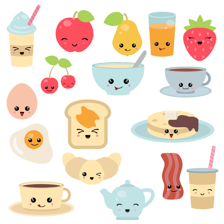 Breakfast food and beverages, cute vector icons set. Cute cartoon characters.