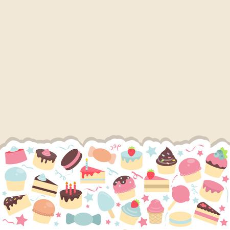 Fondo Con Los Dulces Y El Caramelo Lindos. Tarjeta De Diseño ...