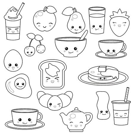 Desayuno Comida Y Bebidas Personajes De Dibujos Animados Lindo