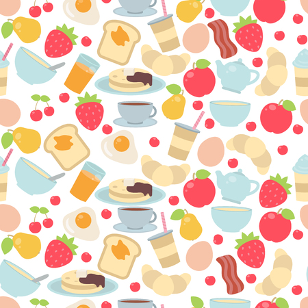 Vector seamless pattern with breakfast food and beverages.